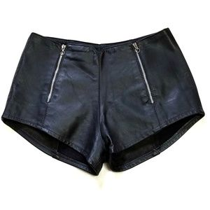Vintage Hillside Leather Black Motorcycle Shorts L